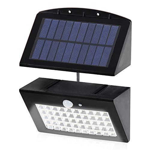Solarleuchten Außen, T-SUN 50 LED Solarleuchte mit Bewegungssensor, Helle Wandleuchte, 3 optionale Beleuchtungs- Modi, großer Sonnenkollektor, 120° Erfassungswinkel, Wetterfest große Außenbeleuchtung.