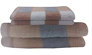 Livingston Home Luxurious 4-Piece / 2 Bath 2 Hand Towel Set Brown Block Bath Towel Set, 4-PCS Set, Checkered