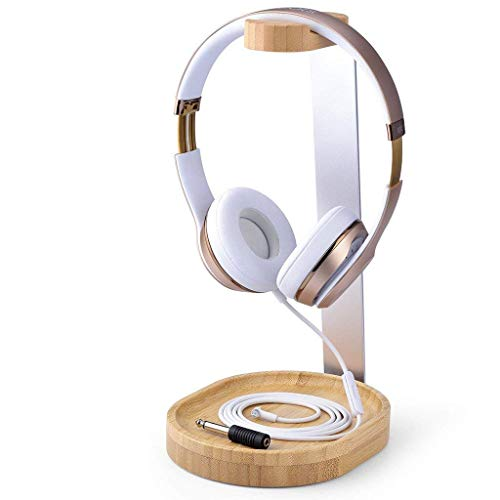 Avantree Universal Wooden & Aluminum Headphone Stand Hanger with Cable Holder, Sturdy Desk Headset Mount Rack for Sony, Bose, Shure, Jabra, JBL, AKG, Gaming Headphones Display - TR902