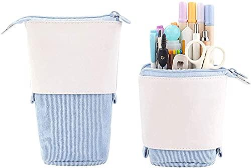 Cosanter Federmäppchen Teleskop Federmäppchen Federtaschen Stand Up Pen Bag Multifunktionale Pop-Up Pencil Case Standing Leinwand + PU Briefpapierbeutel Kosmetiktaschen 18.5 x 12.5 x 6.5cm Blau