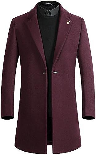 Les Hommes de Manteaux de Fourrure de la Mode et Coupe - Vent Style Manteau en Laine à Long,Le vin Rouge,m