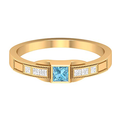 Rosec Jewels 14 quilates oro amarillo princess-shape H-I Blue Diamond Aquamarine