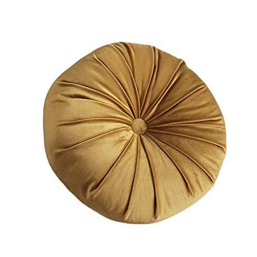RTWAY Almohada redonda de terciopelo, 33 x 10 cm, plisada de calabaza, cojín para sofá, cama, ventana, coche, color amarillo