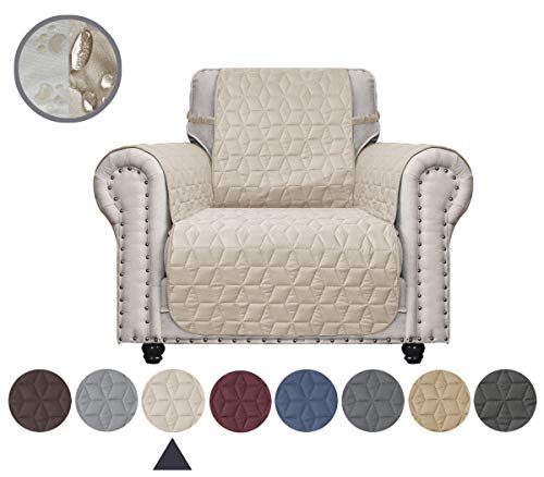 Ameritex Chair Cover with Anti-Skip Dog Paw Print 100% Water-Resistant Quilted Furniture Protector Slipcover for Dogs, Children, Pets Chair Slipcover for Leather Couch (Beige, 23'')