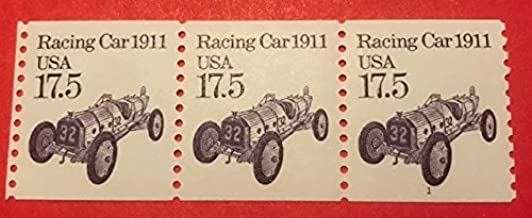 1988 US Postage Stamp, 1911 Racing Car, Coil Strip of 5, Coil #1, 17.5 cent