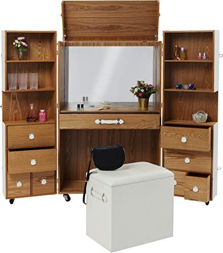 Kare Design Schrankkoffer Office Croco Weiß,  Klappschrank in Krokodil Optik in der Farbe Weiß, Schrank mit Ablagefächern und Schubladen, mit Rollen (H/B/T) 151,5x91,5x61,5cm
