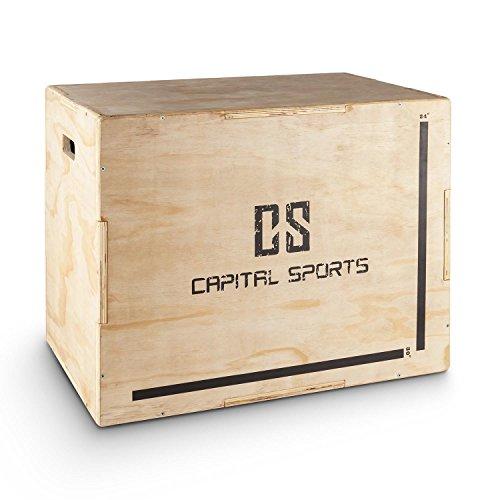"""CapitalSports Shineater Caja de Salto pliométrica (3 Alturas de 20\"""", 24\"""" y 30\"""", de Madera de 11 Capas, Apta Gimnasio Profesional o Entrenamiento al Aire Libre) - Madera"""