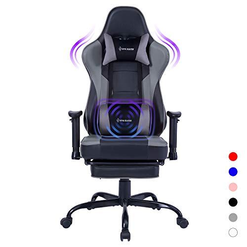 VON RACER Gaming Stuhl mit Massage Lendenwirbelstütze Ergonomischer Bürostuhl Drehbarer Chefsessel aus Hohe Rückenlehne Leder Schreibtisch mit Fußstütze Einstellbare Armlehne und Neigungswinke