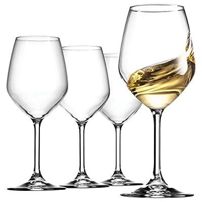 Bormioli Rocco 14.75 oz White Wine Glasses (Set Of 4): Crystal Clear Star Glass, Laser Cut Rim For Wine Tasting, Elegant Party Drinking Glassware, Restaurant Quality