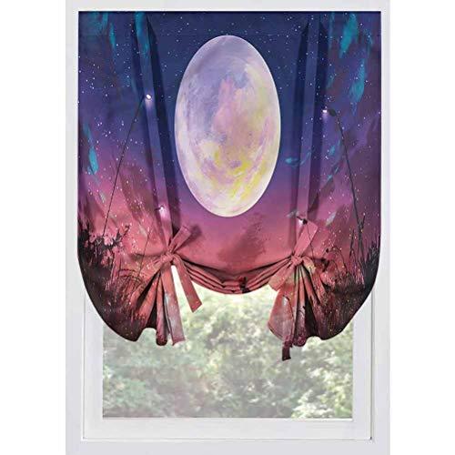 LCGGDB Fantasy Blackout Tie Up Shades Panels,Dog Under Huge Moon Room Darkening Rod Pocket Curtains Balloon Shades for Small Windows, Doors, French Doors, Kitchen Windows,32'x55'