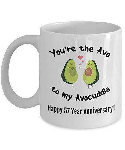 ZGNNN-EU Happy 57Th Anniversary Taza de regalo para esposo, esposa, él, mujer, hombre, 57 años, Aniversario de boda, aguacate, taza de café de cincuenta y siete años Avocuddle
