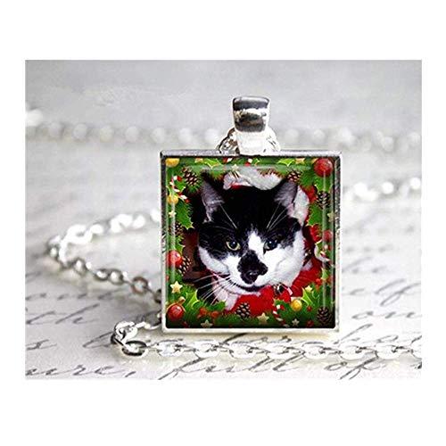 we are Forever family Katzen-Halskette mit Foto-Anhänger, Katze mit Nikolausmütze, Weihnachtsschmuck, Urlaubsschmuck, Geschenk für Katzenliebhaber