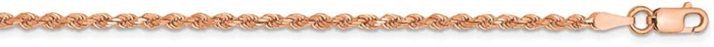 14k Rose Gold 2mm Link Rope Lobster Clasp Chain Necklace 18 Inch Pendant Charm Handmade Fine Jewelry For Women Gifts For Her