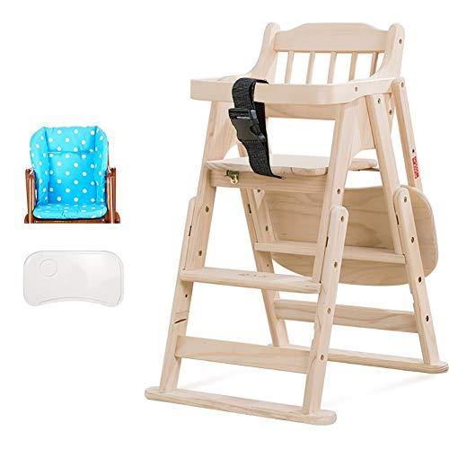 Chaises Hautes MYL Bébé - Chaise Dinning Pliable Réglable avec Coussin Rembourré for Enfant/Enfant, Bois De Pin, Charge Max 60 Kg (Color : Style 2)