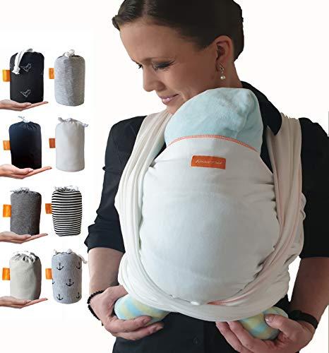 Kleiner Held® Babytragetuch - hochwertiges elastisches Baby Tragetuch - Babytrage für Früh- und Neugeborene Babys ab Geburt bis 18 kg inkl. Wickelanleitung und Aufbewahrungstasche I Farbe Weiß