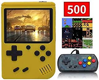 BAORUITENG Handheld Game Console , Retro FC Game Console 3 Inch Screen 500 Classic Games TV Output Game Player with 1PCS Joystick , Birthday Present for Children (Yellow)