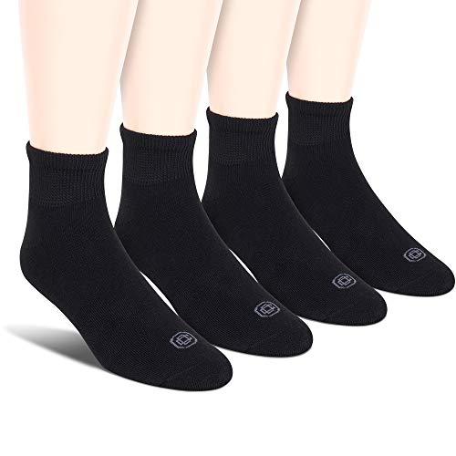 Doctor's Choice Men's Non-Binding Diabetic Circulatory Full Cushion Quarter 4 Pack Black Socks, Shoe Size: 6-12.5