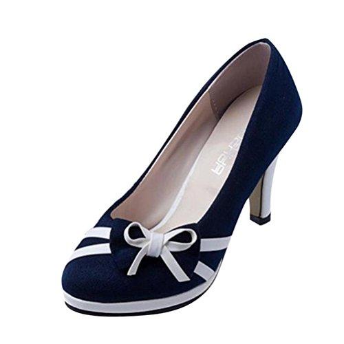 VJGOAL Damen Pumps, Frauen Mädchen Spring Fashion Runde Zehe Bowknot Shallow Hochhackige Hochzeit Schuhe Frau Geschenk (35 EU, Blau)