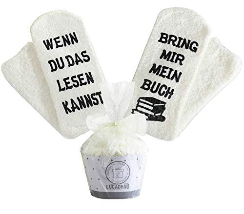 Lucadeau Buch Socken, Buch Geschenke für Frauen, WENN DU DAS LESEN KANNST BRING MIR MEIN BUCH, Geburtstagsgeschenke für Frauen,Fre&in,Schwester (Cremefarbe)