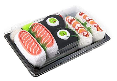 Rainbow Socks - Damen Herren - Sushi Socken Lachs Shrimp Gurken Maki - Lustige Geschenk - 3 Paar - Größen 41-46