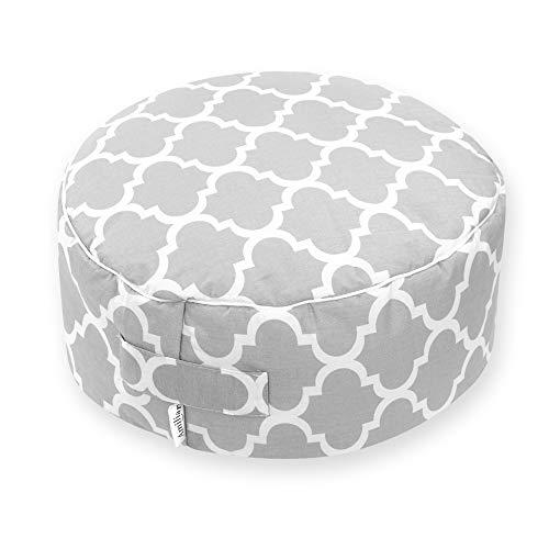 Amilian Sitzkissen Sitzpuff Sitzpouf Puff Bezug aus 100% Baumwolle ca. 40 cm Durchmesser 16 cm hoch für Kinder weiche Füllung Fußhocker Kissen Bodenkissen Sitzsack Indien Grau