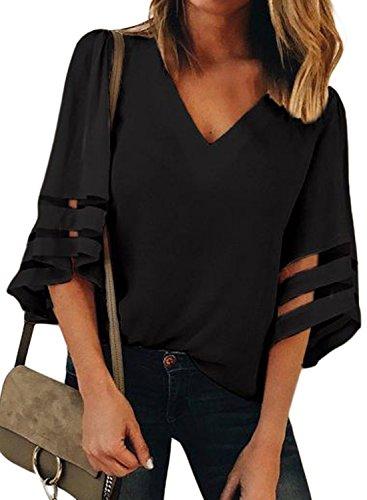 KISSMODA Women 3/4 Sleeve Tops Casual Loose Plain Chiffon Tunic Blouses Black XX-Large