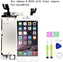 Screen Replacement Compatible with iPhone 6 Plus Full Assembly - LCD Touch Display Digitizer with Ear Speaker, Sensors and Front Camera, Fit Compatible with All iPhone 6 Plus (White)