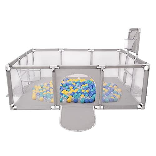 Selonis Parque De Juegos Con Canasta, Meta Y 400 Bolas Para Niños, Gris:Turquesa Azul Amarillo Transparente