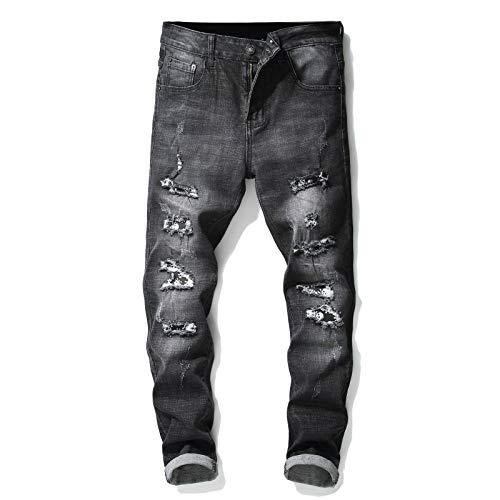 CFWL Pantalones De Tobillo con Parche Rasgados Negros EláSticos De Gama Alta para Hombre, Tendencia De Personalidad, Moda, Pantalones para Hombre Pantalones Chinos Pantalones Negro 34