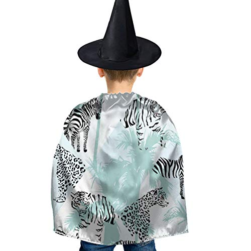 Amoyuan Unisex Kids Kerstmis Halloween Heks Mantel Met Hoed Jungle Zebra Tijger Leeuw Panter Wizard Cape Fancy Jurk