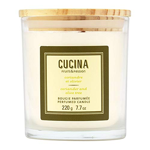 Fruits & Passion Cucina Coriander and Olive Tree Perfumed Plant Based Wax Candle 7.7 Ounces