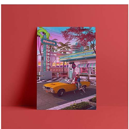 W15Y8 Primer Beso 80S Nostalgia Synthwave Lienzo Póster Arte Living Chico Niños Habitación Hogar Dormitorio Decoración-50X70Cm Sin Marco
