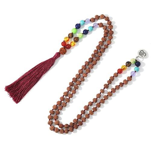 JONJUMP 108 Mala Natural Rudraksha y piedra natural con cuentas colgante borla collar de meditación Declaración amuleto