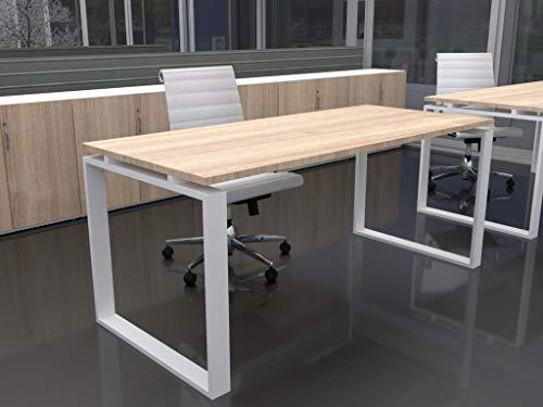Mesa de Oficina con Estructura Cerrada, de 180x80cm. FABRICACIÓN Nacional. Entrega de 3 a 7 dias. (Tablero Roble, Estructura Blanco)