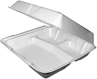 Dart 95HTPF3, 9x9x3-Inch Performer White Three Compartment Foam Container With A Removable Hinged Lid, Carryout Food Disposable Containers (100)
