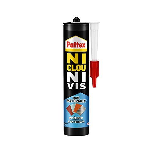 Pattex Ni Clou Ni Vis Tous Matériaux Intérieur & Extérieur, colle de fixation, colle forte tous supports, mastic blanc, cartouche de 450 g