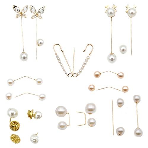 Canzoon Broche Perlas De Moda 15Pcs Imperdibles Broches Decorativos Broche Vestidos Para Accesorios De Vestido De Mujeres Chicas(Oro,Camello Dorado)
