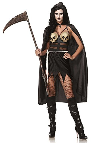 Leg Avenue Women's 3 Piece Death Dealer Grim Reaper Costume, Black, Small