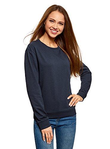 oodji Ultra Mujer Suéter de Algodón Básico, Negro, ES 36 / XS