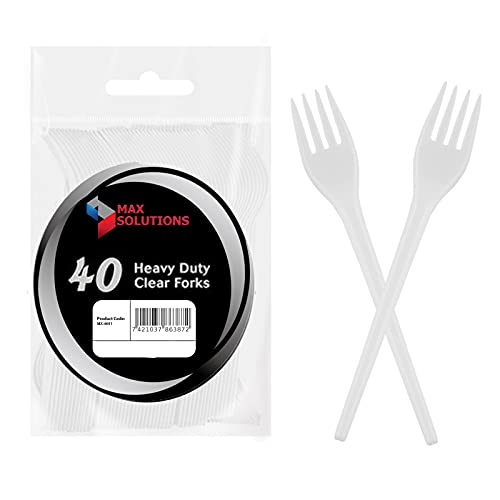 40 Heavy Duty Clear Forks Tableware Cutlery BBQ Picnic Camping Party Portable Reusable