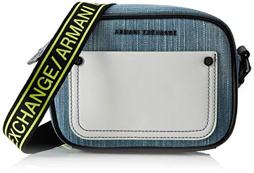 ARMANI EXCHANGE Small Crossbody Bag - Borse a tracolla Donna, Nero (Black/White), 19x7.5x18 cm (B x H T)