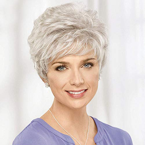 Emmor Short Silver Grey Human Hair Wigs for Women Blend Pixie Cut Wig With Bang,Natural Daily Use Hair (Color 101#)