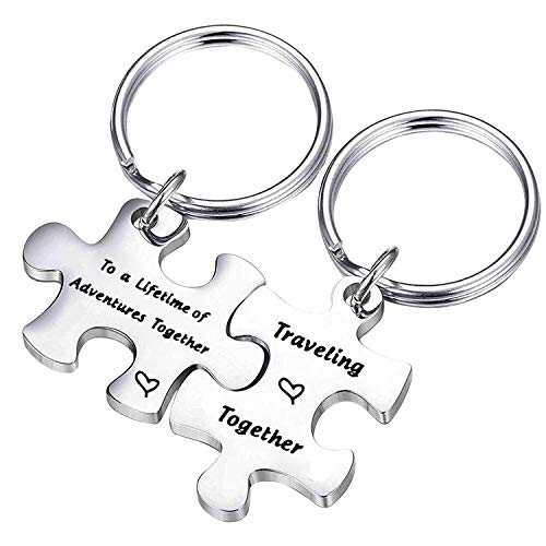QIIER Couples Puzzle Keychain Lifetime of Adventures Together Traveling Together Set Of Two Adventure Jewelry Travel Gift Anniversary Gift Birthday Gift (Lifetime of Adventures)