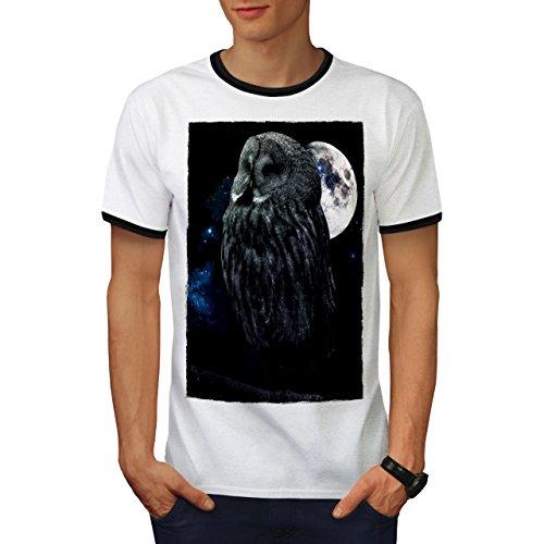 wellcoda Nacht Eule Mond Himmel Tier Männer T-Shirt Zurück Dunkelheit Grafikdesign-T-Stück