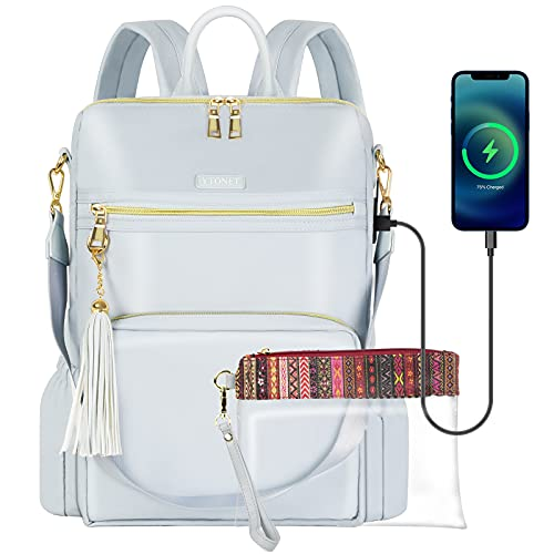Backpack Purse for Women, 15.6 Stylish Travel Laptop Backpack with USB Charging Port Waterproof Anti Theft Durable Casual Daypack Bookbag Fashion Tassel Shoulder Bags for Ladies/Girls/Teacher/Nurse