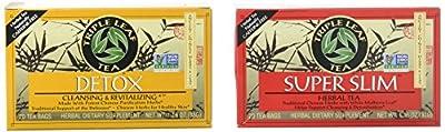 Triple Leaf Caffeine Free Herbal Tea 2 Flavor Variety Bundle: (1) Triple Leaf Chinese Detox Tea (20 count), and (1) Triple Leaf Super Slimming Tea (20 Count) by Triple Leaf Tea