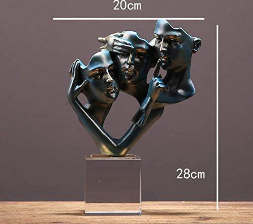 GCP Esculturas de estatuas Moderno No Hablo Escuchar Ver Personaje Abstracto Estatua de Cara Artesanía casera Objetos de decoración de la habitación Escultura de Base de Vidrio de Oficina