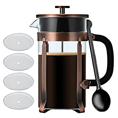 French Press Coffee Maker 34 oz,IdealHouse 8 Cups Glass Traval Coffee Press Espresso Tea Maker Kit with Extra Filters,Stainless Steel Heat Resistant Camping Coffee Tea Pot