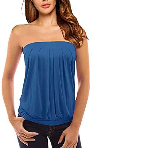 Xniral Damen Sommer Tube Top Schulterfrei Rueckenfrei Tops Party Bandeau Schlauchshirt mit Plissee(Blau,XL)