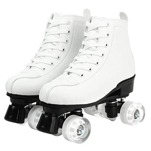 Roller Skates Light Up Wheels Adjustable Roller Skates Double Row Roller Skates Fun for Girls and Ladies Unisex (Black with Light,38-US:7)